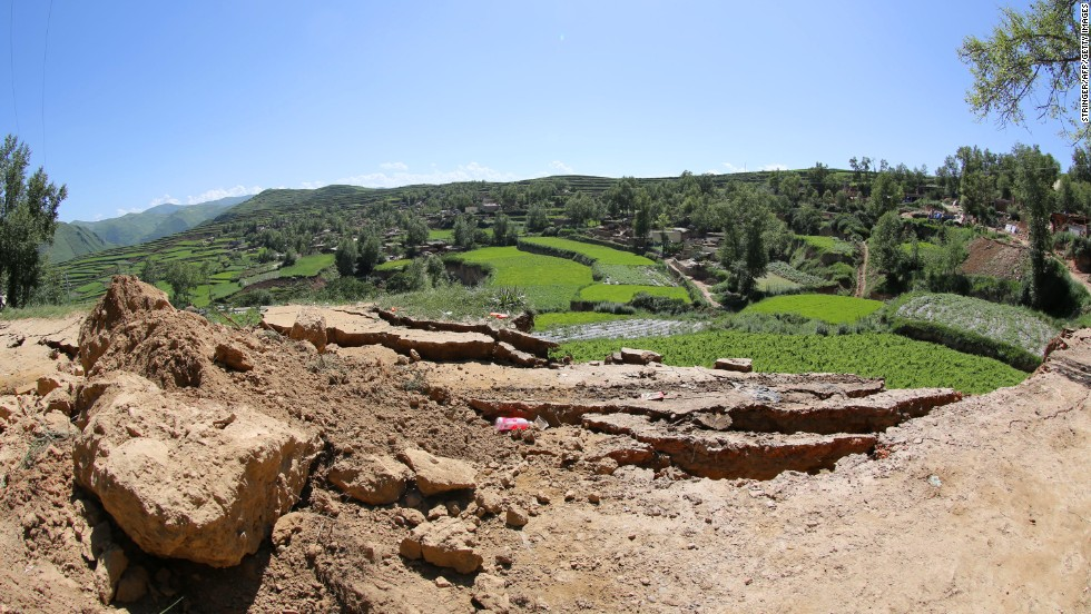 Damage from the quake is visible in Hetuo township in Dingxi on July 22.