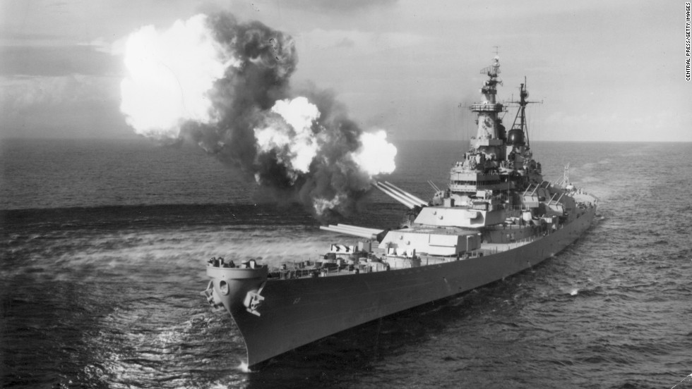The USS Missouri bombards Chongjin, North Korea, circa May 1951.
