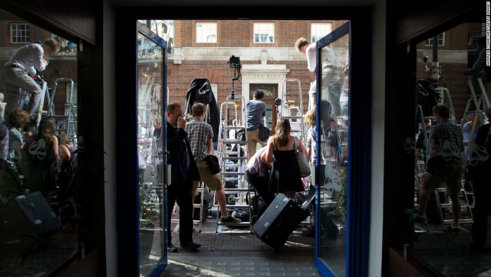 Media gather outside the Lindo Wing of St. Mary's Hospital in London on July 22 as they await news of the birth.