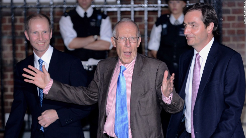 Two of the gynecologists who attended to the duchess, Marcus Setchell, center, and Alan Farthing, right, leave the Lindo Wing of St. Mary's Hospital on July 22.
