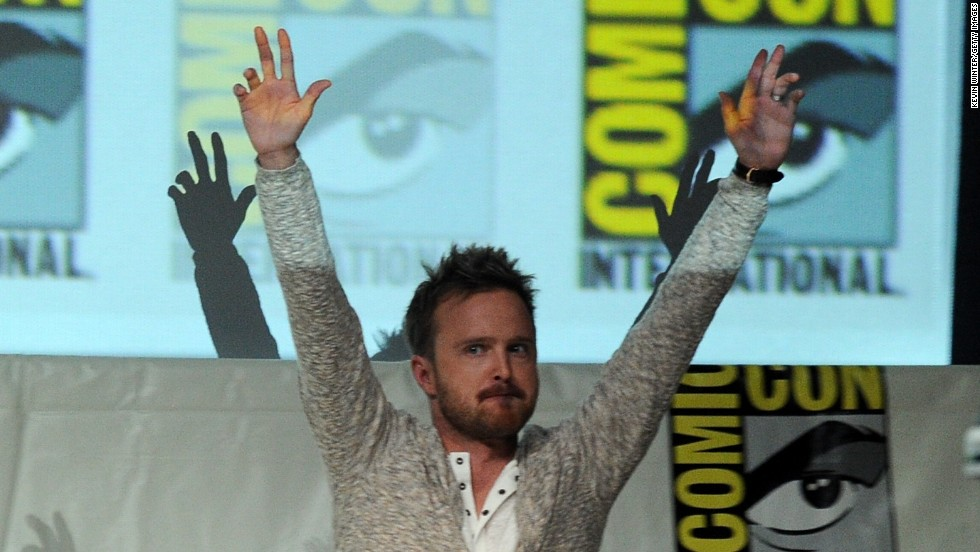 Aaron Paul onstage at the 'Breaking Bad' panel during Comic-Con International 2013 at San Diego Convention Center in San Diego, California.