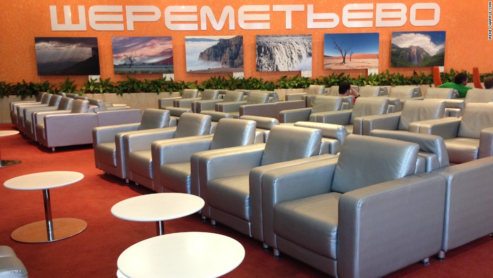 Sheremetyevo Airport's Galaktika economy passenger lounge is barely occupied. Not another Snowden-watcher in sight, although a small dog was present out of shot.
