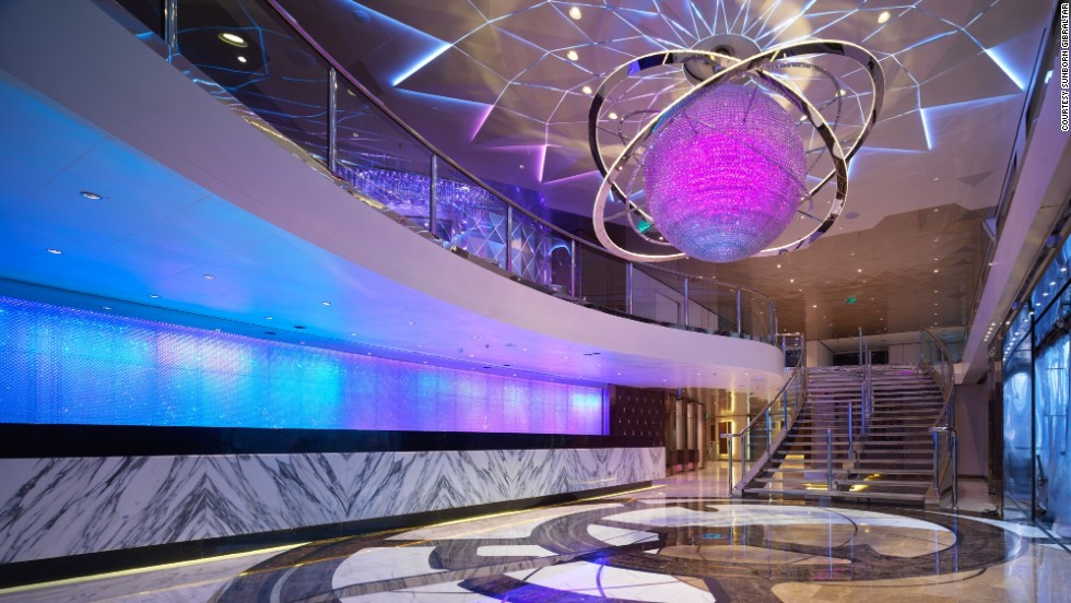 The plush vessel boasts 189 rooms, spa and gym, cocktail lounges, and this grand reception hall.