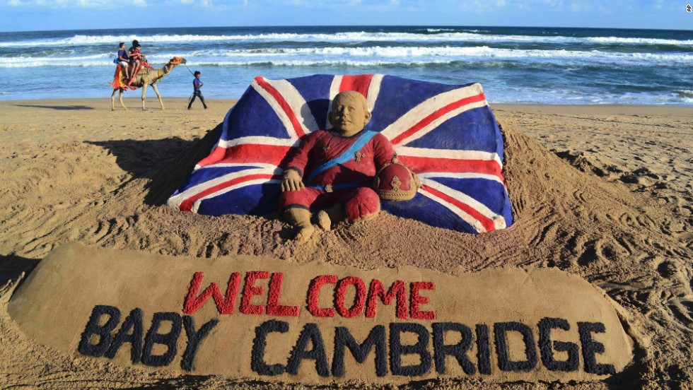 A sand sculpture was created by sand artist Sudarshan Pattnaik to celebrate the birth in Puri, India, on July 23.