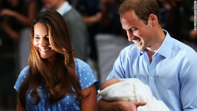 William, Kate and baby leave hospital