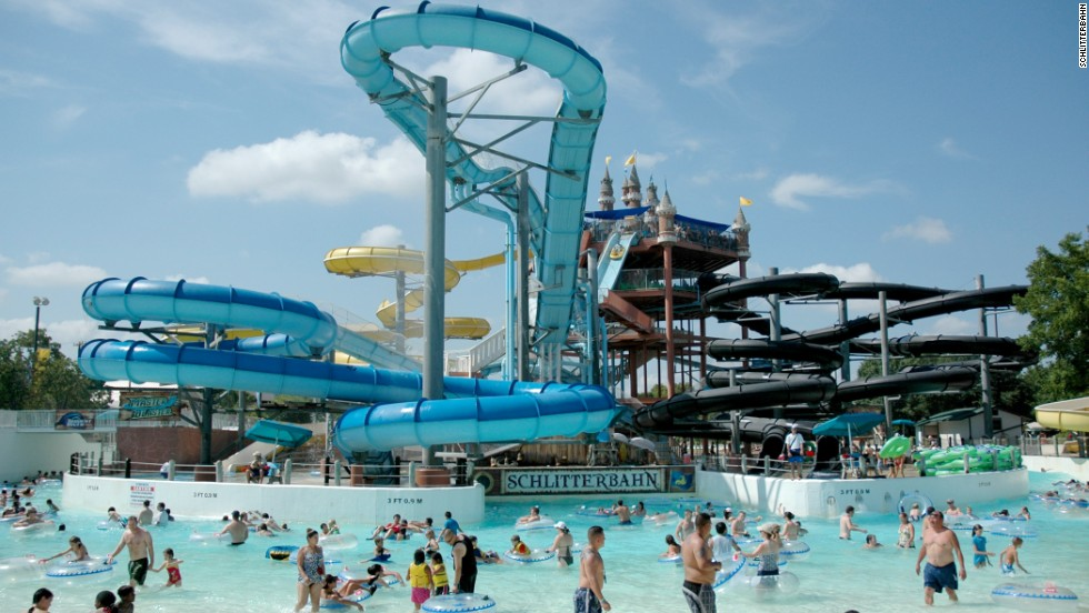 """Schlitterbahn New Braunfels Waterpark, founded by the Henry family in 1979, sits along the Comal River in New Braunfels, Texas. Last year, this water park hosted a little over a million guests, the Themed Entertainment Association reported. As a salute to the family's German roots, the Henrys named their park Schlitterbahn, which loosely translated in German means """"slippery road."""""""