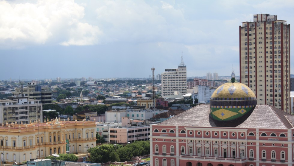 Manaus' famous opera house, built in the late 1800s, stands out in the city skyline.