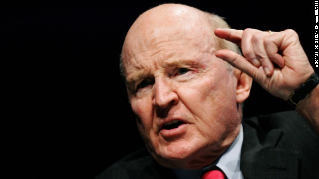 "FRANKFURT/MAIN, Germany:  Former General Electric chairman Jack Welch gestures as he speaks on 04 November 2005 during the ""World Business Forum"" in Frankfurt/M. The World Business Forum is a symposium featuring eminent leaders and thinkers speaking on topics of the utmost importance to the business community.    AFP PHOTO DDP/THOMAS LOHNES GERMANY OUT  (Photo credit should read THOMAS LOHNES/AFP/Getty Images)"