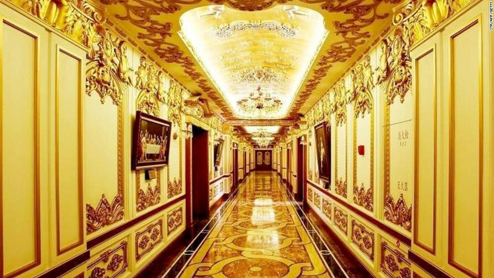 The luxury interior decoration of the state-owned Harbin Pharmaceutical Group offices in Heilongjiang province. The drug firm caused online outrage for the offices that appear to mimic France's Versailles palace.