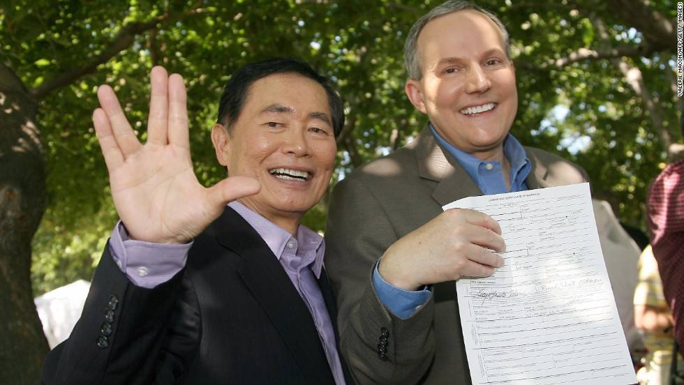 "George Takei: Best known for his role as Mr. Sulu in ""Star Trek,"" he has become known for his work supporting same-sex marriage after announcing that he was gay in 2005 and marrying longtime partner Brad Altman in 2008."