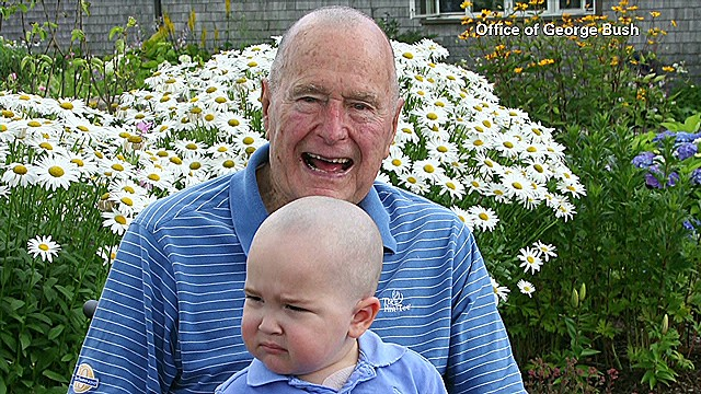 Bush shaves head for child with cancer
