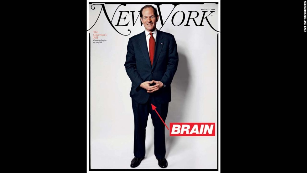 "New York magazine featured Eliot Spitzer on its <a href=""http://nymag.com/nymag/toc/20080324/"" target=""_blank"">cover in March 2008</a>, a month after he resigned as governor, with the word ""brain"" pointing to his crotch. Spitzer was stopped in his political tracks when his liaisons with high-paid escort Ashley Dupre surfaced, leading to his resignation. The magazine devoted three articles to dissecting his downfall."