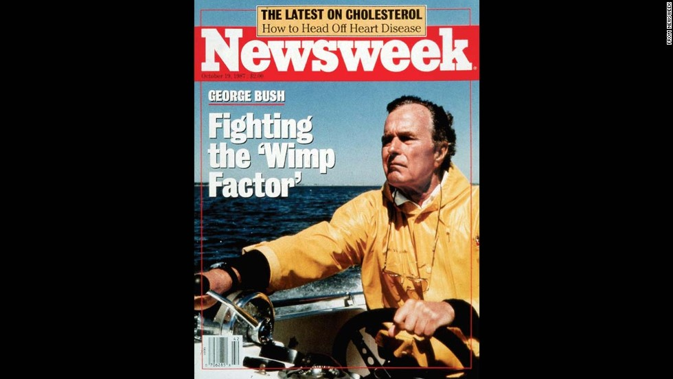 "In 1987, Newsweek caused a stir when it ran a cover of Vice President George H.W. Bush titled ""Fighting the 'Wimp Factor."" It was a year before the election that would promote Bush to the presidency, at a time when the country was debating his qualifications. The magazine <a href=""http://politicalticker.blogs.cnn.com/2012/07/29/romney-shrugs-off-magazines-wimp-cover/"">reprised the ""Wimp Factor""</a> phrase in 2012, this time referring to GOP presidential nominee Mitt Romney."