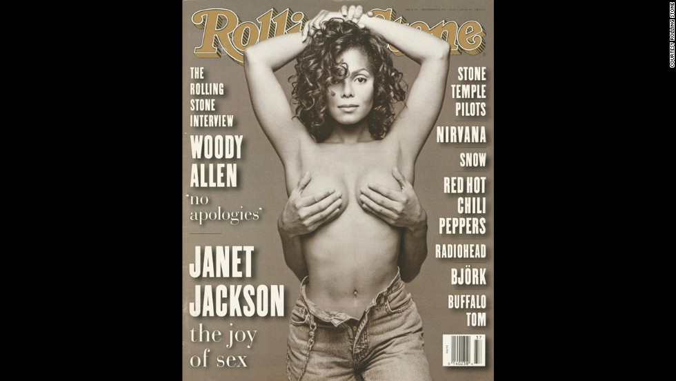 "Janet Jackson was featured on the <a href=""http://www.rollingstone.com/music/pictures/1993-rolling-stone-covers-20040512/rs665-janet-jackson-20346818"" target=""_blank"">September 1993 cover</a> of Rolling Stone with a pair of hands covering her breasts. The photograph came from a session Patrick Demarchelier shot while producing artwork for the cover of the sexually charged ""Janet"" album. ""We had a choice of shooting her ourselves,"" Laurie Kratochvil, Rolling Stone's director of photography, <a href=""http://articles.latimes.com/1993-08-29/entertainment/ca-28989_1_janet-jackson"" target=""_blank"">told the Los Angeles Times</a>. ""But they offered us this and the image is very powerful."" The provocative image shocked the world and established Jackson's status as a sex symbol."