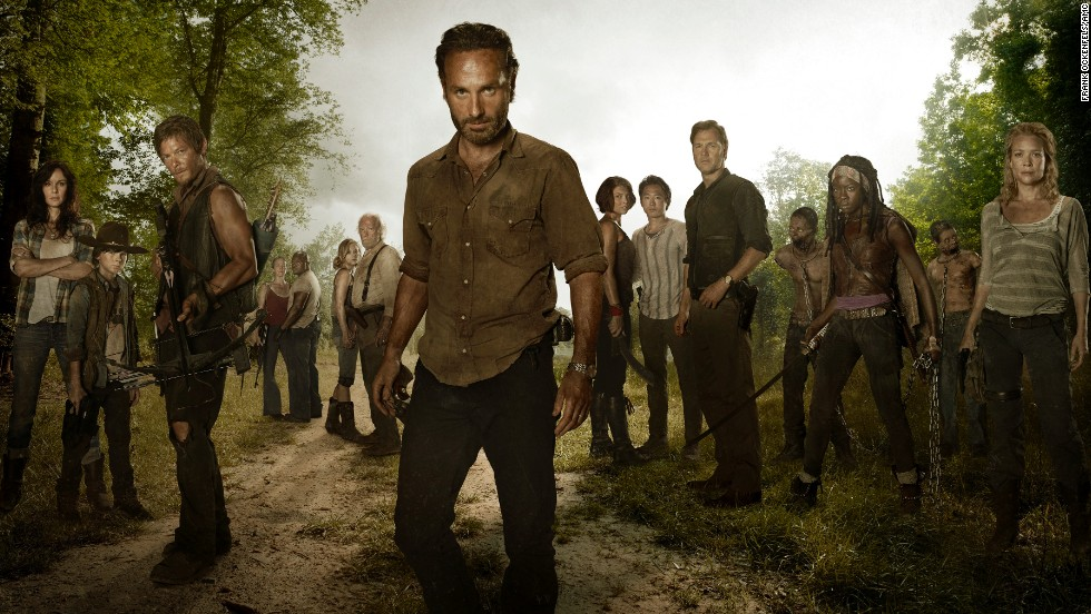 "Rick Grimes, played by Andrew Lincoln, center, tries to keep some sense of normalcy in a post-apocalyptic world overrun with walkers on AMC's ""The Walking Dead,"" but characters come and go quickly on the gruesome show. *Spoiler alert!*"