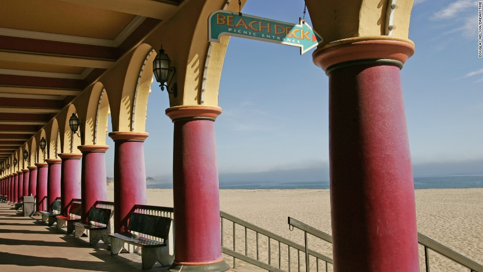 The Santa Cruz Beach Boardwalk is near the top of Monterey Bay in central California.