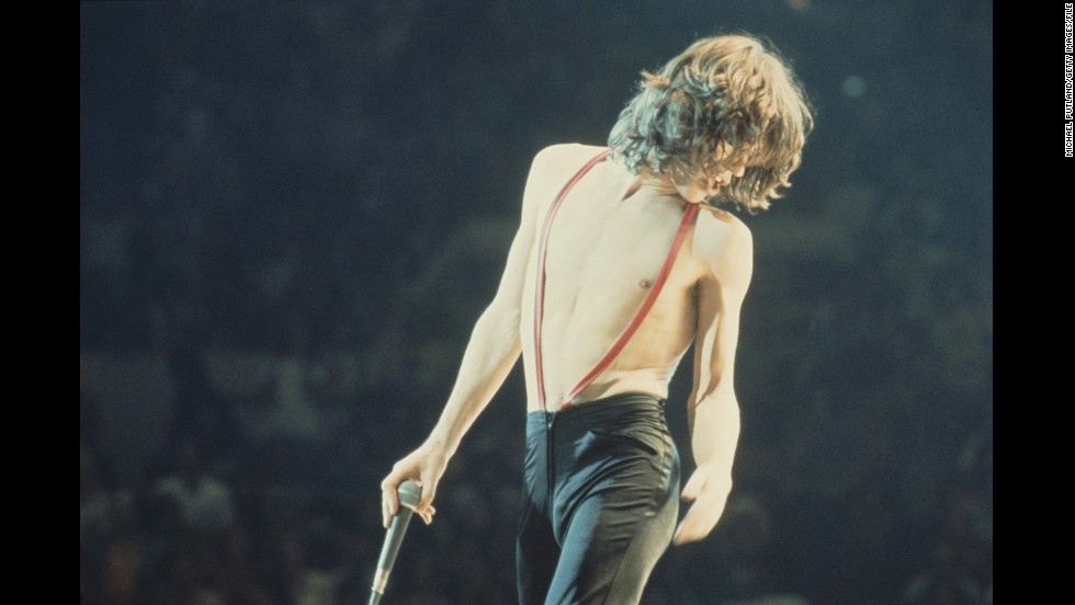 Jagger, seen here on stage with the Stones in 1975, always made comfort a priority. His pants may be tight, but not so snug he can't dip into his famous hip gyrations.