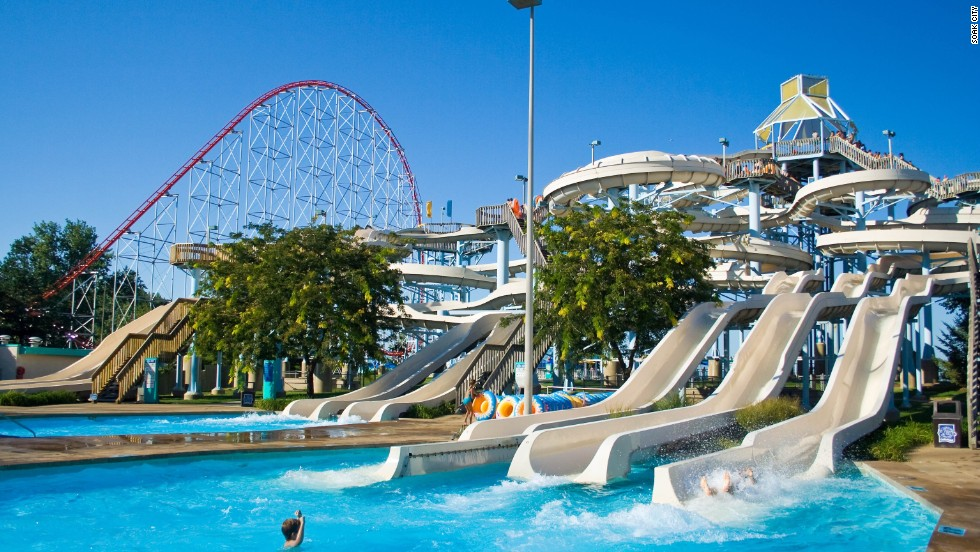 Within Soak City Cedar Point's 18 acres in Sandusky, Ohio, sits a massive wave pool that holds a half-million gallons. The park boasts more than a dozen water slides. For the less-adventurous, Soak City includes two inner tube river rides.