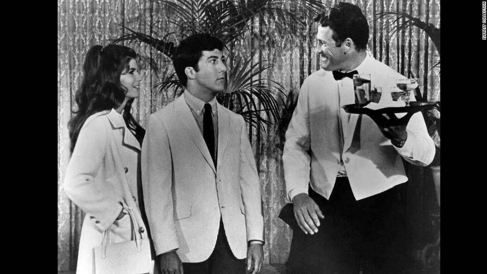 """Dustin Hoffman wears a seersucker blazer in """"The Graduate,"""" 1967."""