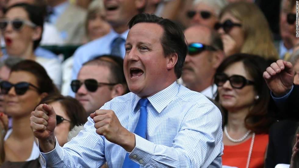 British Prime Minister David Cameron roars on Andy Murray to victory in the 2013 Wimbledon final.