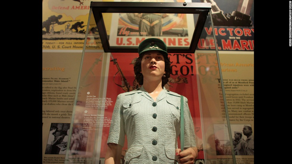 Seersucker was used for military uniforms during World War II. Here, a green women's seersucker uniform is displayed at the National Museum of the Marine Corps.