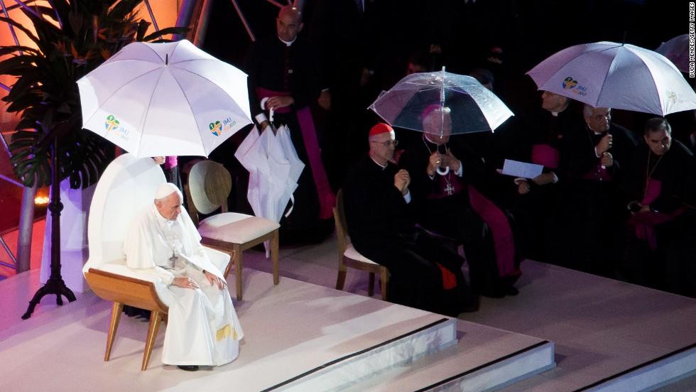 Pope Francis celebrates Mass at Copacabana beach in Rio de Janeiro on Thursday, July 25.