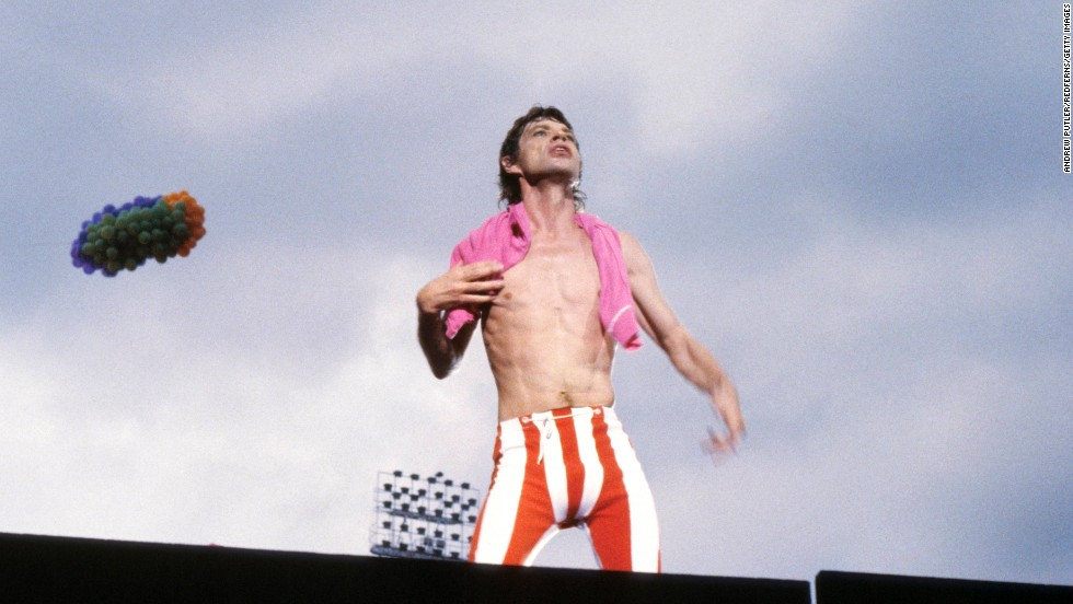 Mick Jagger looks out at the crowd during a 1982 concert at Wembley Stadium in London.