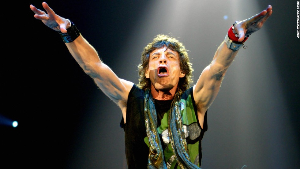 Mick Jagger addresses the crowd during a show in Munich in 2003.
