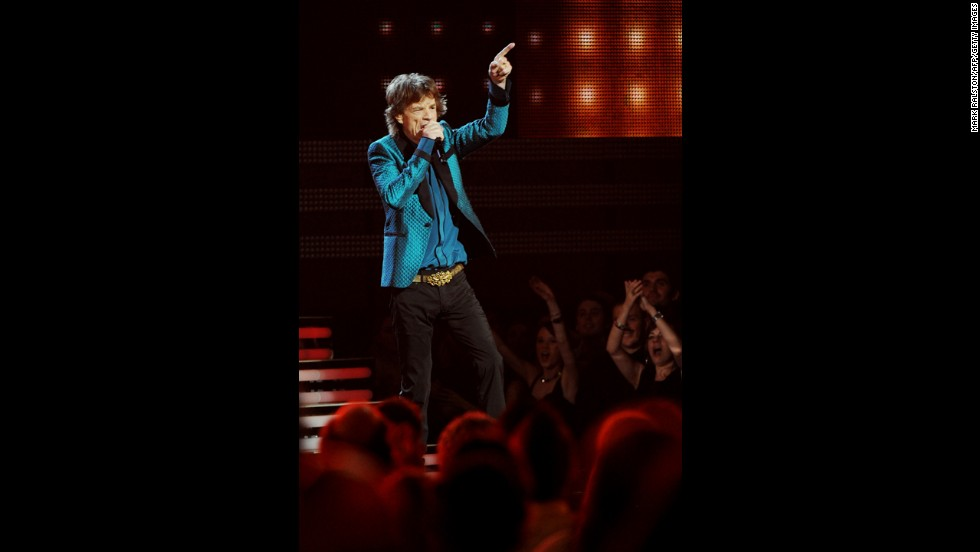 The Rolling Stones perform at the Staples Center in Los Angeles during the 2011 Grammy Awards.