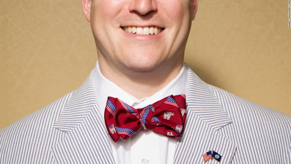 Young Republican Adam Roth of Virginia poses for a portrait at the convention. Some conventioneers took the opportunity to dress colorfully.
