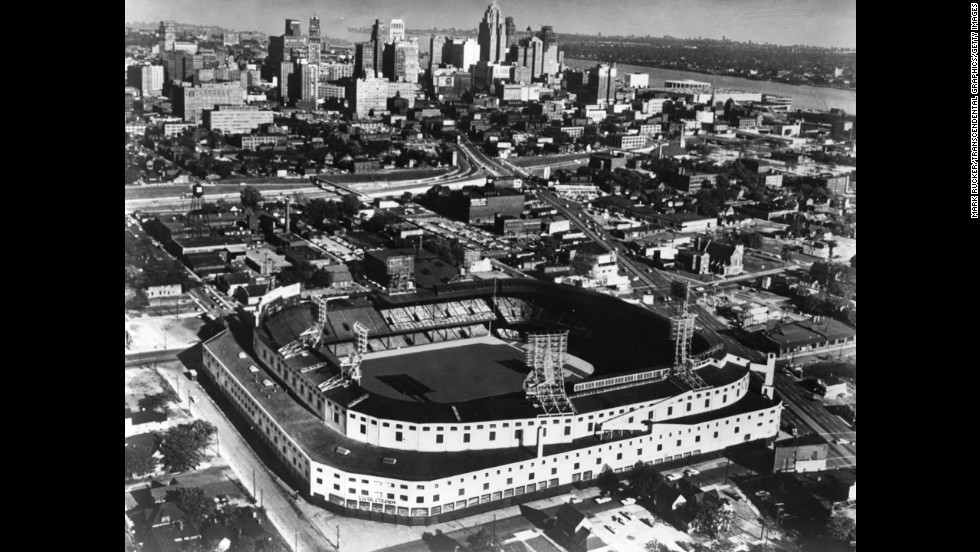 "Detroit has become the largest American city to declare bankruptcy. People who spend any time there grow accustomed to hearing the words ""used to be,"" says Heidi Ewing, co-director of ""Detropia,"" a documentary about the Michigan city and its uncertain future. An aerial view, circa 1950, of the old Tiger Stadium and the downtown skyline shows the Motor City in all its former glory."