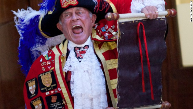 Tony Appleton was the unofficial town crier who announced the birth of Britain's Prince George in London, on July 22, 2013.