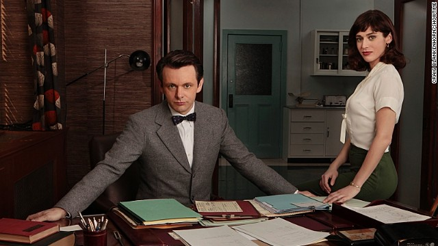 "Michael Sheen as Dr. William Masters and Lizzy Caplan as Virginia Johnson in Showtime's upcoming ""Masters of Sex,"" based on  Thomas Maier's book."