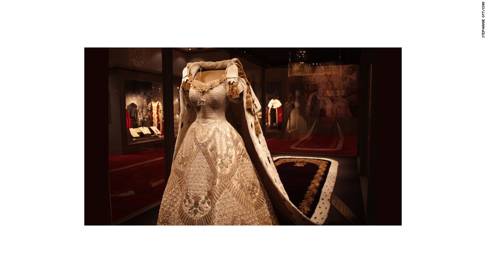 Queen Elizabeth II's coronation dress and robe.
