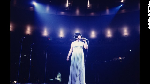 "Aretha Franklin performs during the ""Soul Together"" concert in 1968."