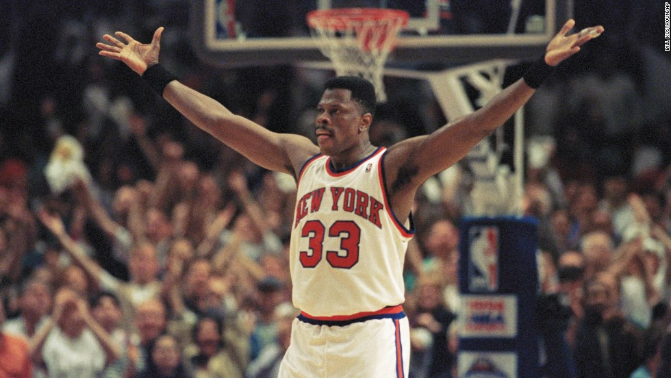 Patrick Ewing celebrates the New York Knicks' victory over the Chicago Bulls during the NBA Eastern Conference semifinals in May 1994.