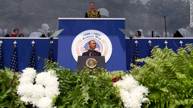 President Obama speaks during a commemorative ceremony near the Korean War Veterans Memorial on Saturday.