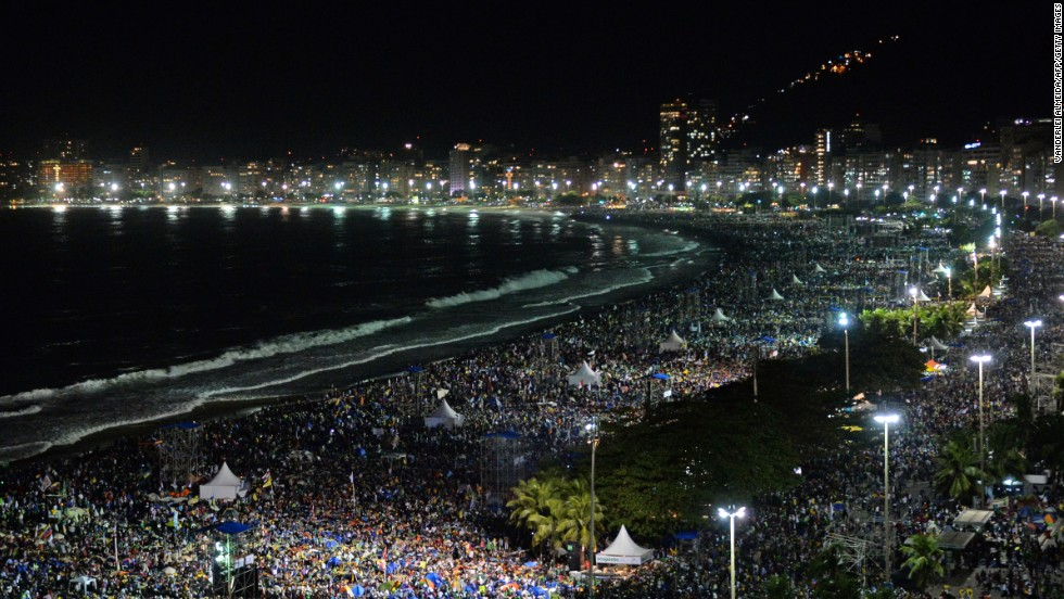 The enormous crowd packs Copacabana Beach for the vigil on July 27.