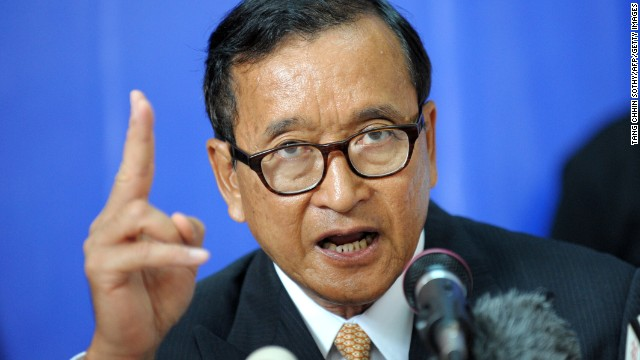 Leader of the opposition Cambodia National Rescue Party, Sam Rainsy speaks in Phnom Penh on Monday.