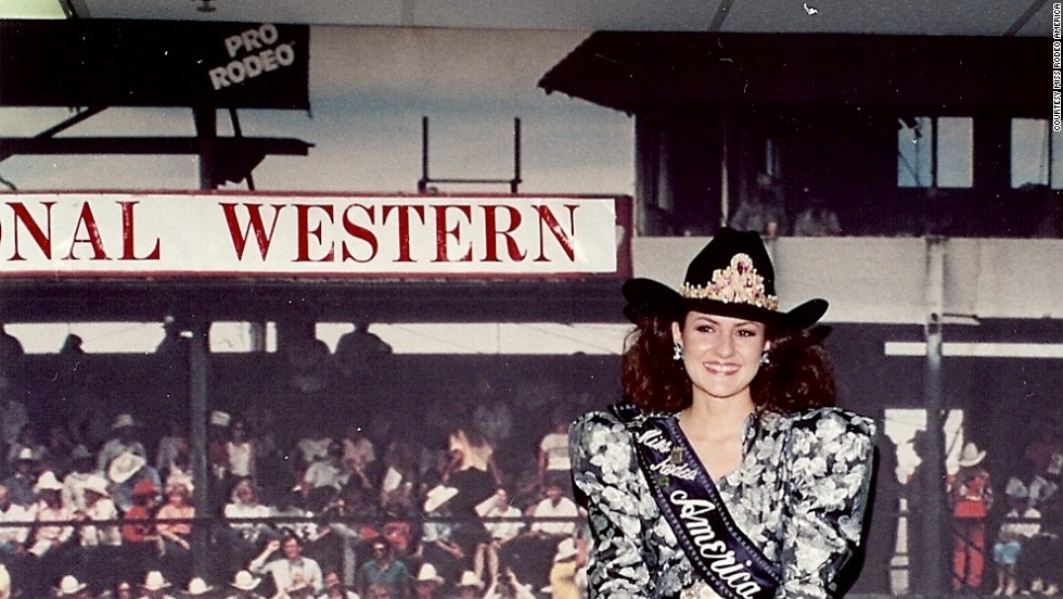 "With shoulder pads like this, Miss Rodeo America 1994, Michele Green, could tame any bull. As Shiner said, each queen is a glamorous role model, but ""you still have to be prepared to get dirt in your nails."""