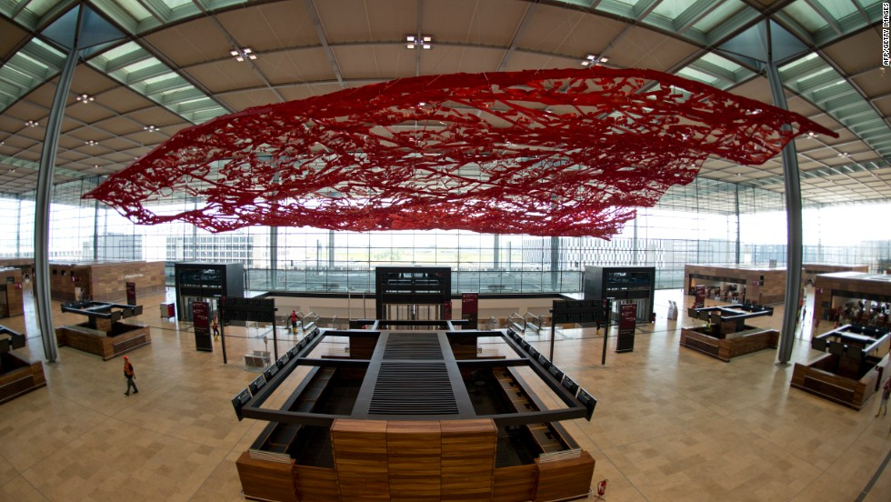 The main check-in hall at Berlin Brandenberg Willy Brandt Airport.