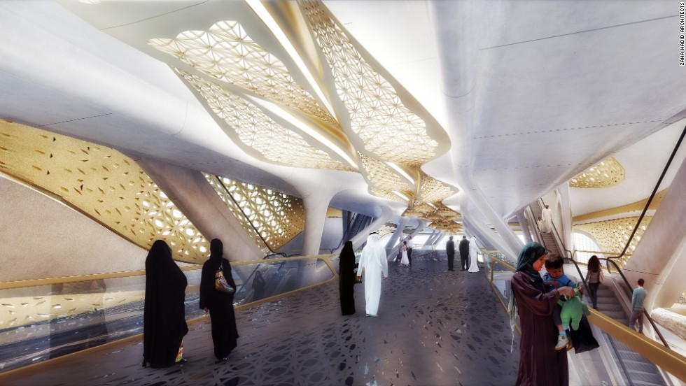 Artist's impression of a platform at the King Abdullah Financial District station.