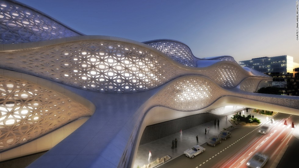 Construction of the Saudi Arabian capital's new metro system will begin next year. The King Abdullah Financial District station designed by Zaha Hadid Architects will be one of the most spectacular among 85 new stops.