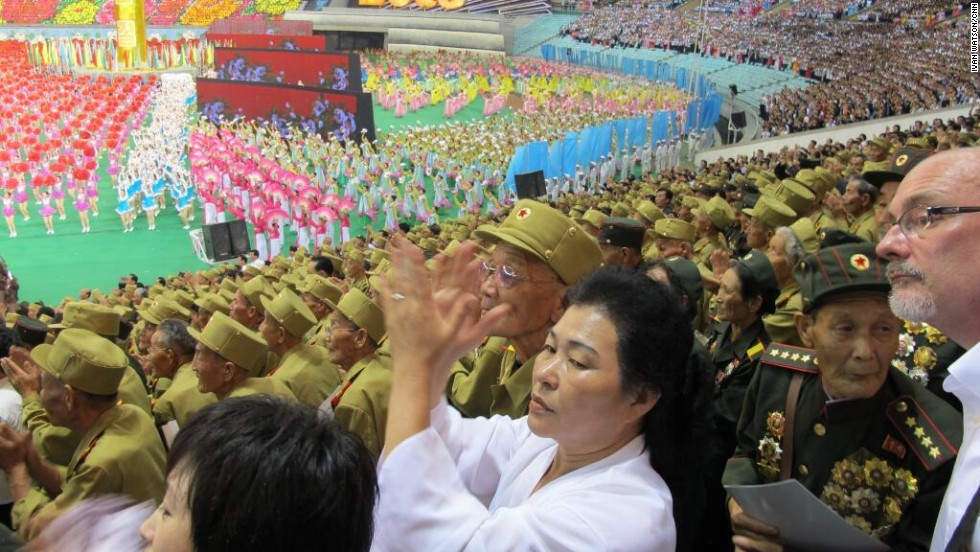 "A stadium was packed full of North Korean veterans on Friday, July 26, to celebrate 60 years of ""victory"" since the signing of the armistice agreement that ended the Korean War fighting. There has never been a peace treaty, so the Korean War has technically never ended.  The 38th parallel marked the division between North and South Korea in August 1945, at the end of WWII."