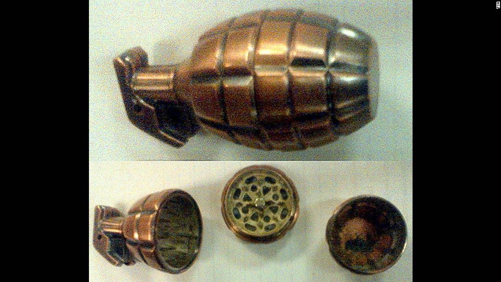 A passenger at Dayton International Airport set off alarms when he tried to get a tobacco grinder shaped like a hand grenade through security. Officers also found a soda can with a false bottom that contained marijuana.