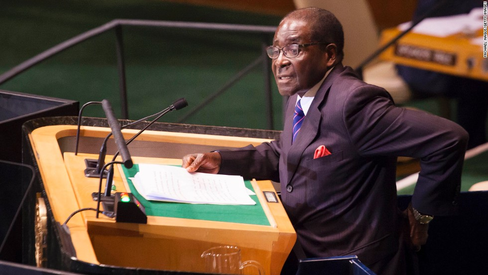 Mugabe addresses world leaders during the United Nations General Assembly in September 2012 in New York.