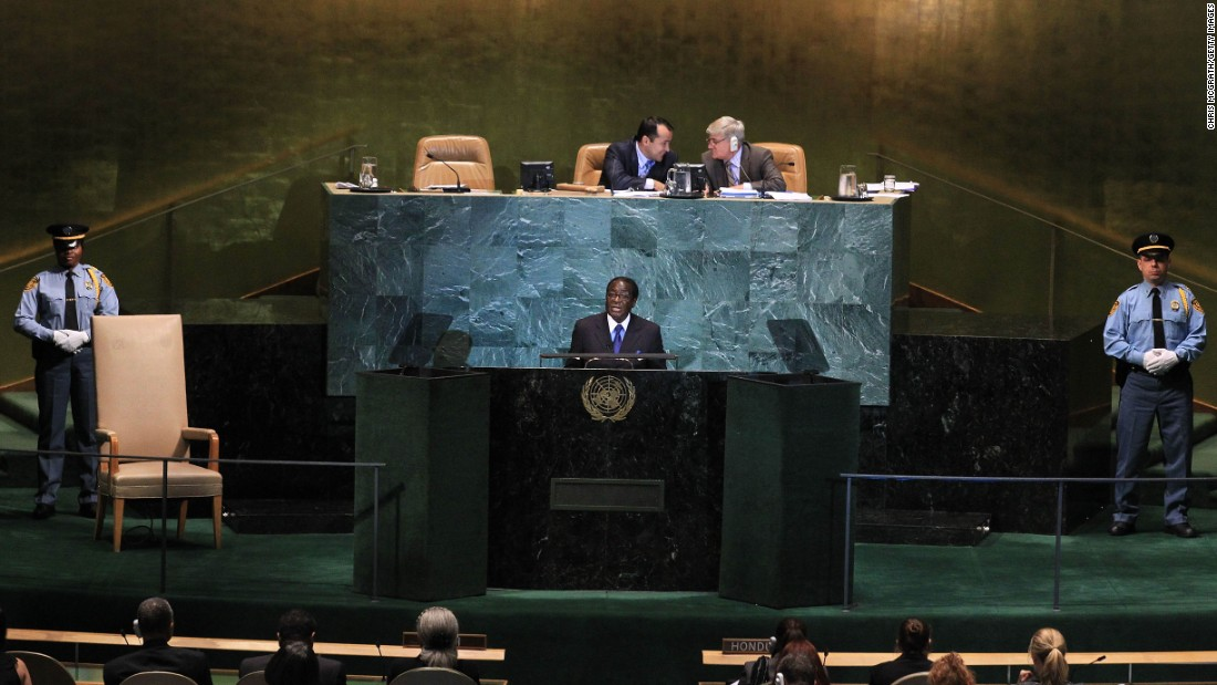 Mugabe addresses the 65th session of the General Assembly at the United Nations in September 2010.