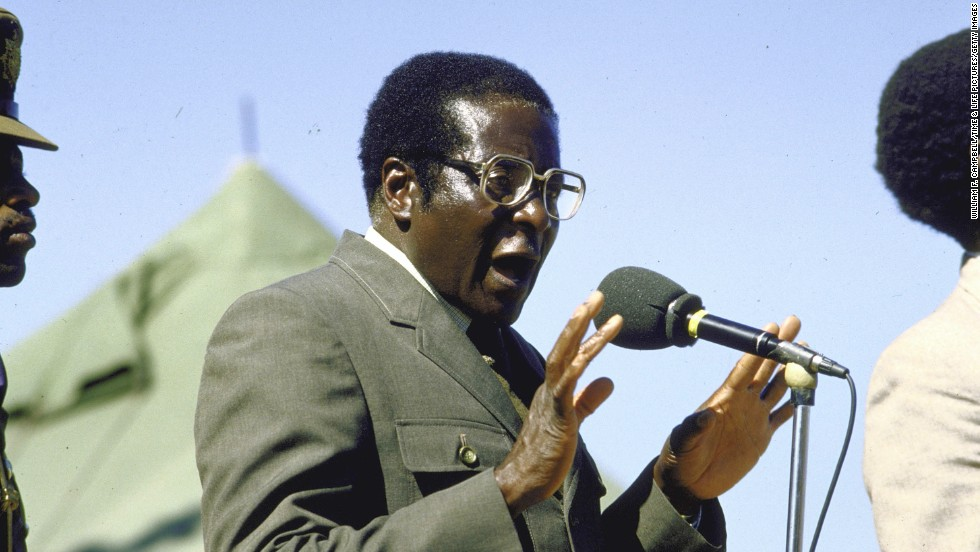 Mugabe, in military uniform, speaks at an election rally at Tsholotsho in 1985.