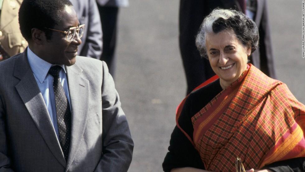 Mugabe and Indian Prime Minister Indira Gandhi in New Delhi in 1983.