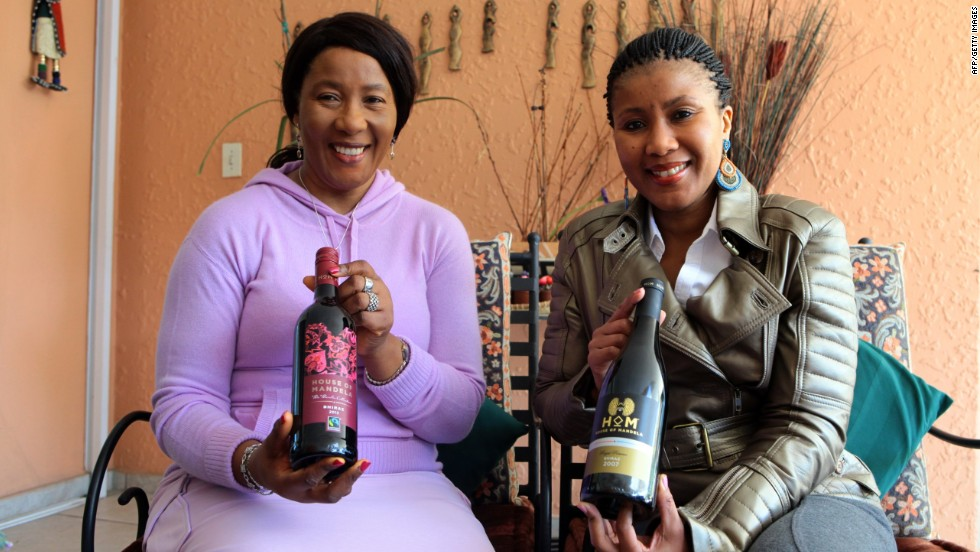 Nelson Mandela's daughter Makaziwe Mandela, and her daughter Tukwini Mandela, show off their House of Mandela wine range.